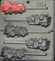 3313 Fire Truck Lollipop Chocolate Candy Mold