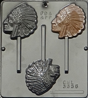 3356 Indian Chief Lollipop Chocolate Candy Mold