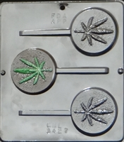 3427 Marijuana Leaf Lollipop Chocolate Candy Mold