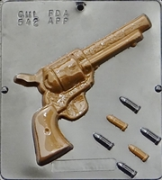542 Six Shooter Revolver & Bullets Chocolate Candy Mold