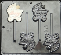 646 Baby in Carriage Lollipop Chocolate Candy 