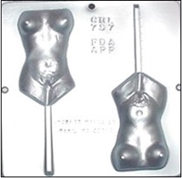 "757 Female Torso ""Waist Up"" Lollipop Chocolate Candy Mold"