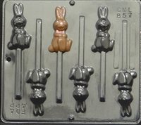857 Hopping Bunny Lollipop Chocolate Candy Mold