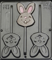 884 Happy Face Bunny Lollipop Chocolate Candy Mold