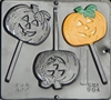904 Flat Pumpkin Lollipop Chocolate Candy Mold