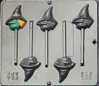 914 Witch Face Lollipop Chocolate Candy Mold