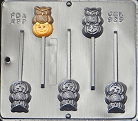 925 Owl with Pumpkin POP Lollipop Chocolate Candy Mold