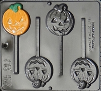 928 Pumpkin Jack O' Lantern Lollipop Chocolate Candy Mold