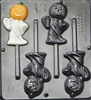 939 Pumpkin Ghost Lollipop Chocolate Candy Mold