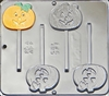 941 Pumpkin Jack O' Lantern Lollipop Chocolate Candy Mold
