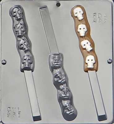 961 Skulls on Pretzel Rod Chocolate Candy Mold