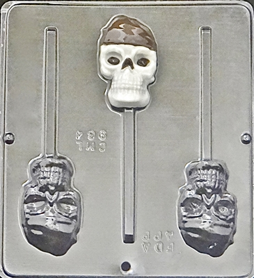 964 Pirate Skull Lollipop Chocolate Candy Mold