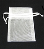 "BA-50-01 White Organza Sheer Pouch.  Drawstring close 3"" x 4"" Quantity 12"