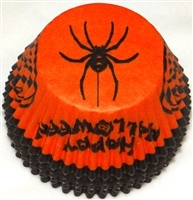 "BC-06-50 ""Happy Halloween"" printed Orange/Black Standard Baking Cup 50 ct."