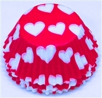 BC-12-50 White Hearts on Hot Pink Standard Baking Cup 50 ct.