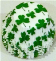 BC-14-50 Green Shamrock on White Standard Baking Cup 50 ct.