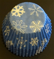 BC-16-50 Snowflake printed on Lt. Blue Standard Baking Cup 50 ct.