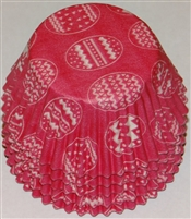 BC-17-50 White Easter Eggs on Hot Pink Standard Baking Cup 50 ct.