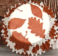 BC-19-50 Autumn Leaf printed on White Standard Baking Cup 50 ct.
