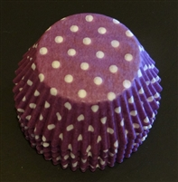 BC-20-50 White Polka Dot on Purple Standard Baking Cup 50 ct.