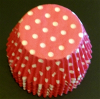 BC-21-50 White Polka Dot on Hot Pink Standard Baking Cup 50 ct.