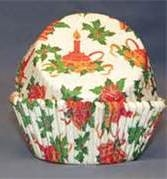 BC-50-50 Red Bells, Candle, Grn. Holly, Christmas Design on White Standard Baking Cup 50 ct.