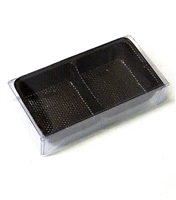 OB-BT100 OREO Cookie 2 Piece Clear Favor Boxes w/ Brown Tray Insert Qty 100