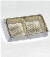 OB-GT100 OREO Cookie 2 Piece Clear Favor Boxes w/ Gold Tray Insert Qty 100