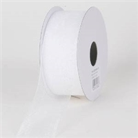 "R-01 White sheer organza ribbon. 5/8"" x 25yds."