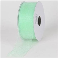 "R-06 Mint. Sheer organza ribbon. 5/8"" x 25yds."