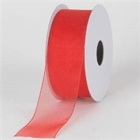 "R-13 Red sheer organza ribbon. 5/8"" x 25yds."