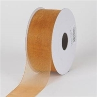 "R-15 Old Gold sheer organza ribbon. 5/8"" x 25yds."