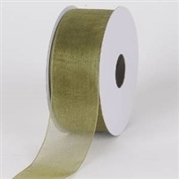 "R-21 Moss sheer organza ribbon. 5/8"" x 25yds."