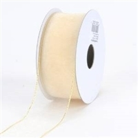 "R-41 Ivory w/Gold edge sheer organza ribbon. 5/8"" x 25yds."