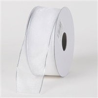 "R-42 White w/Silver edge sheer organza ribbon. 5/8"" x 25yds."