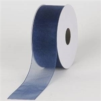 "R-62 Navy sheer organza ribbon. 5/8"" x 25yds."