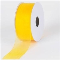 "R-65 Daffodil (yellow) sheer organza ribbon. 5/8"" x 25yds."