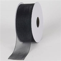 "R-90 Black sheer organza ribbon. 5/8"" x 25yds."