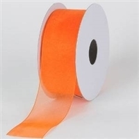 "R-95 Orange sheer organza ribbon. 5/8"" x 25yds."