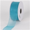 "R-98 Teal sheer organza ribbon. 5/8"" x 25yds."