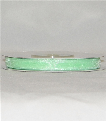 "RN-06 Mint Green sheer organza ribbon 1/4"" x 25yds."