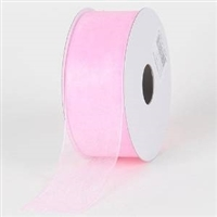 "RO-02-25 Pink sheer organza ribbon. 1 1/2"" x 25yds"