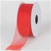 "RO-13-25 Red sheer organza ribbon. 1 1/2"" x 25yds"