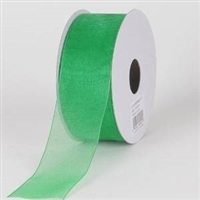 "RO-17-25 Emerald Green sheer organza ribbon. 1 1/2"" X 25yds."