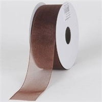 "RO-18-25 Chocolate sheer organza ribbon. 1 1/2"" x 25yds"