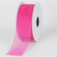 "RO-28-25 Hot Pink sheer organza ribbon. 1 1/2"" x 25yds."