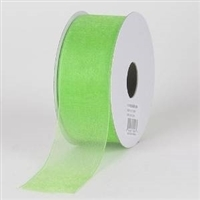 "RO-29-25 Lime Green sheer organza ribbon. 1 1/2"" x 25yds."