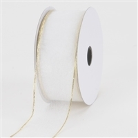 "RO-40 White with Gold edge. Sheer organza ribbon.  1 1/2"" x 100yds"