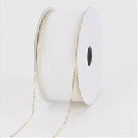 "RO-40-25 White with Gold edge. Sheer organza ribbon. 1 1/2"" x 25yds"
