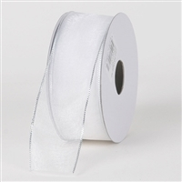 "RO-42 White with Silver edge. Sheer organza ribbon.  1 1/2"" x 100yds"